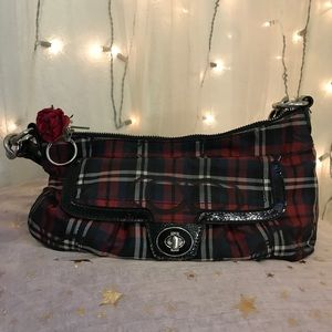 a unique *inserts curse* plaid/tartan coach purse